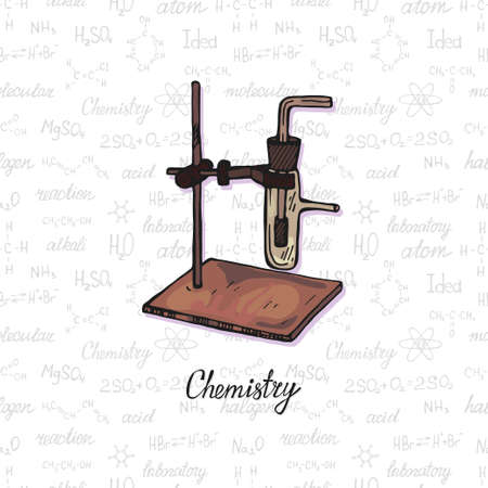 Cute hand drawn chemistry burner on the background with chemistry formulas and elements. Vector science cartoon collection