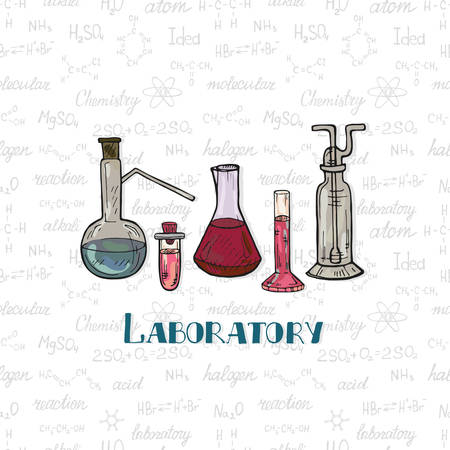 Set of cute hand drawn chemistry equipment on the background with chemistry formulas and elements. Vector science cartoon collection Illustration