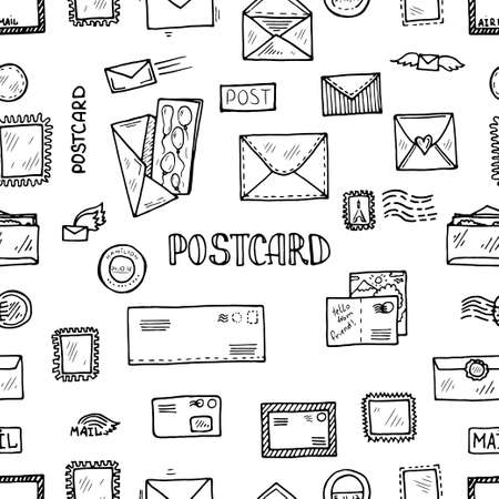 Modèle sans couture de carte postale doodle. Collection de vecteurs dessinés à la main. Cartes postales, timbres et icônes de cachets postaux.