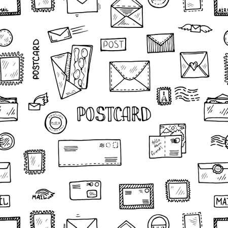 Nahtloses Muster des Postkarten-Gekritzels. Hand gezeichnete Vektorsammlung. Postkarten, Briefmarken und Poststempelsymbole.