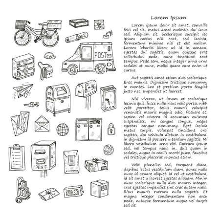 Modèle de carte de doodle de bureau de poste. Collection de vecteurs dessinés à la main. Icônes de poste et de livraison. Vecteurs