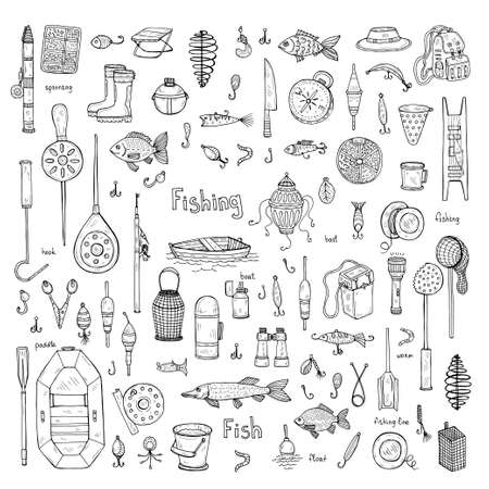 Big set with cute hand drawn fishing icons. Vector catching fish equipment elements. Doodle illustration Illustration