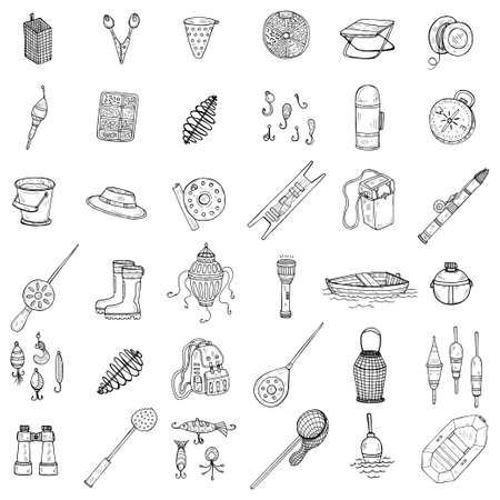 Set with cute hand drawn fishing icons. Vector catching fish equipment elements. Doodle illustration Vecteurs