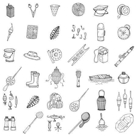 Stellen Sie mit niedlichen handgezeichneten Angelsymbolen ein. Vektor fangende Fischausrüstungselemente. Gekritzelillustration Vektorgrafik