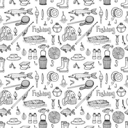 Seamless pattern with cute hand drawn fishing icons. Vector catching fish equipment elements. Doodle illustration