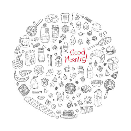 Composition with cute hand drawn breakast icons. Doodle vector collection. Good morning food illustration