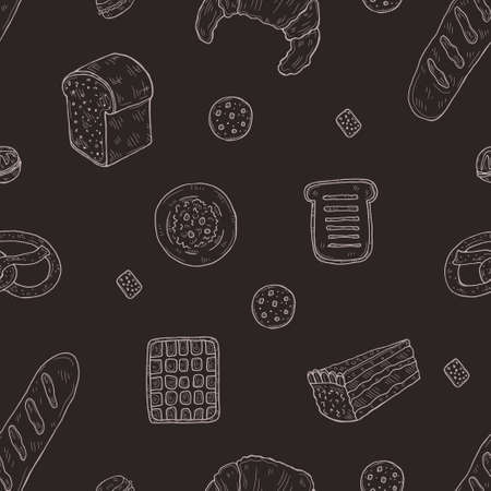 Seamless pattern with cute hand drawn bakery icons. Doodle vector collection. Good morning food illustration Çizim