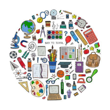 Round composition with cute hand drawn educational tools including pencils; pens; watercolor; eraser; globe; brush; and others. Vector hand drawn back to school collection