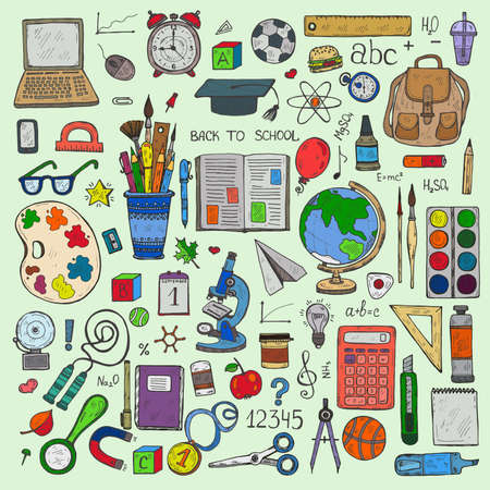 Set of cute hand drawn educational tools including pencils; pens; watercolor; eraser; globe; brush; and others. Vector hand drawn back to school collection Illustration