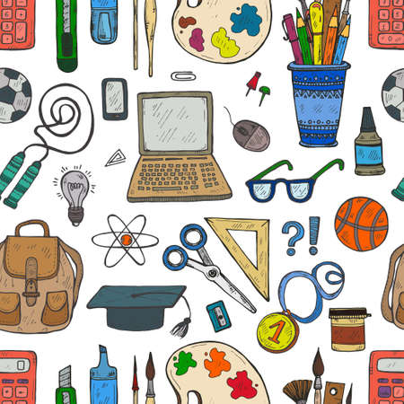 Seamless pattern with cute hand drawn educational tools including pencils; pens; watercolor; eraser; brush; and others. Vector hand drawn back to school collection
