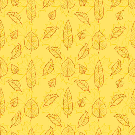 Seamless pattern with cute hand drawn leaves. Autumn collection. Vector illustration