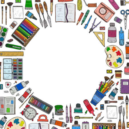 Composition with cute hand drawn art tools including pencils; pens; watercolor; eraser; pastel; brush; and others. Vector hand drawn art collection Illustration
