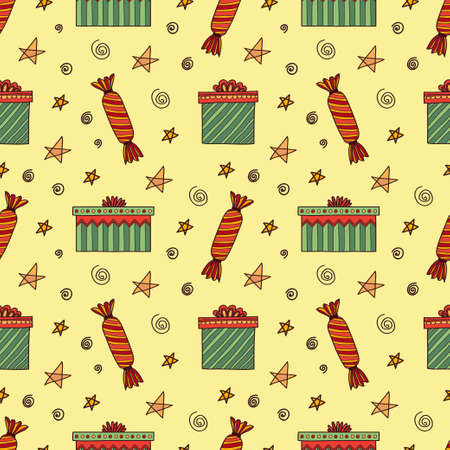 Seamless pattern with cute hand drawn gift boxes. Doodle vector event collection