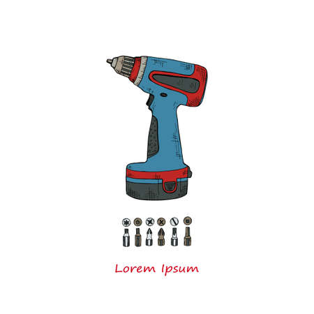 Hand drawn vector screwdriver and bits for the screwdriver