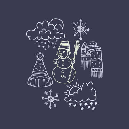 Composition with cute hand drawn weather icons. Doodle vector collection Illustration