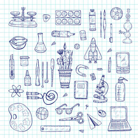 Set of cute hand drawn educational tools including pencils; pens; watercolor; eraser; brush; and others. Vector hand drawn back to school collection