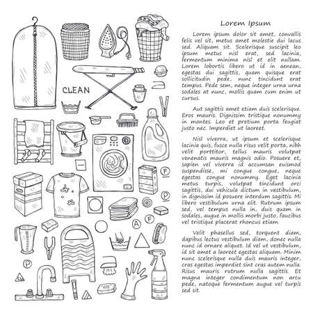 Illusrtation avec des icônes de blanchisserie dessinées à la main. Collection d'objets esquissés. Service de blanchisserie à domicile. Accessoires pour laver et sécher les vêtements