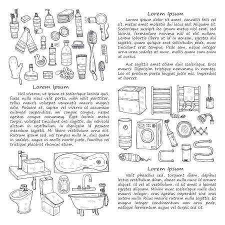Illusrtation with hand drawn laundry icons. Collection of sketched objects. Home laundry service. Accessories for washing and drying clothes