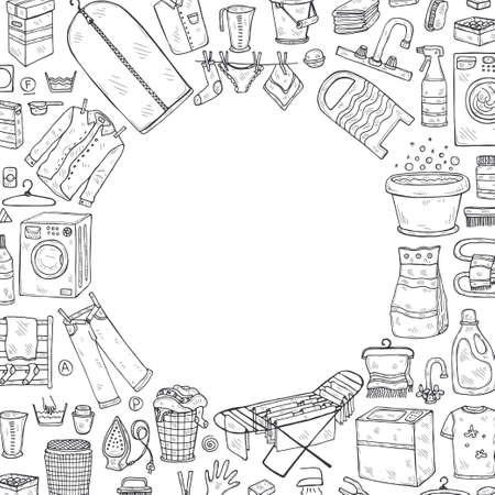 Modèle de carte avec des icônes de blanchisserie dessinées à la main. Collection d'objets esquissés. Service de blanchisserie à domicile. Accessoires pour laver et sécher les vêtements Vecteurs