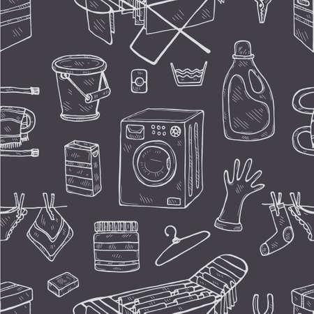 Modèle sans couture avec des icônes de blanchisserie dessinés à la main. Collection d'objets esquissés. Service de blanchisserie à domicile. Accessoires pour laver et sécher les vêtements
