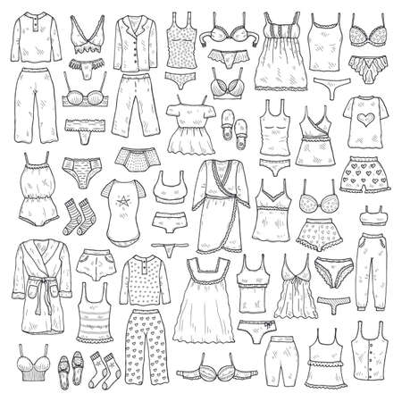 Big set with cute hand drawn lingerie, pajamas and bathrobes. Collection of clothes for sleeping and relaxing. Vector illustration