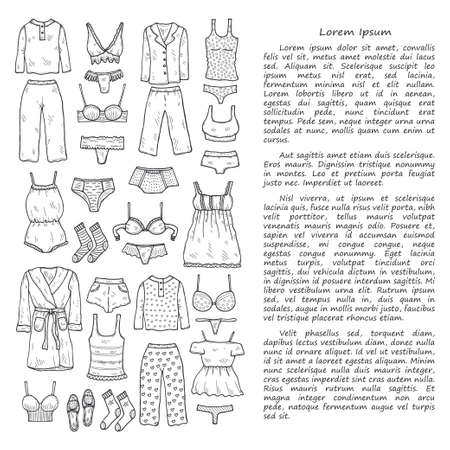 Illustration with cute hand drawn lingerie, pajamas and bathrobes. Collection of clothes for sleeping and relaxing. Vector magazine illustration Ilustração