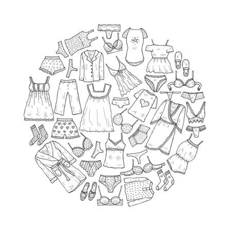 Round composition with cute hand drawn lingerie, pajamas and bathrobes. Collection of clothes for sleeping and relaxing. Vector illustration Illustration