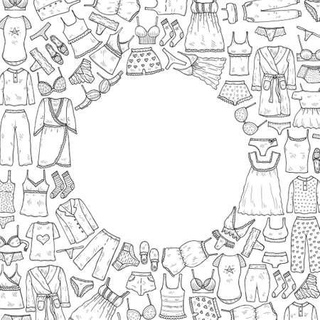 Plantilla de tarjeta con lencería, pijamas y albornoces dibujados a mano. Colección de ropa para dormir y relajarse. Ilustración vectorial Ilustración de vector