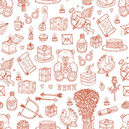 Seamless pattern with cute hand drawn Valentines Day icons. Love collection. Vector 向量圖像