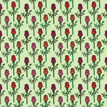 Seamless pattern with cute hand drawn roses. Vector colorful background.