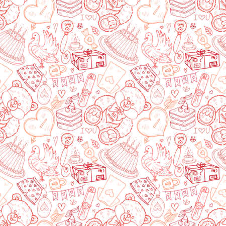Seamless pattern with cute hand drawn Valentines Day icons. Love collection. Vector Ilustração
