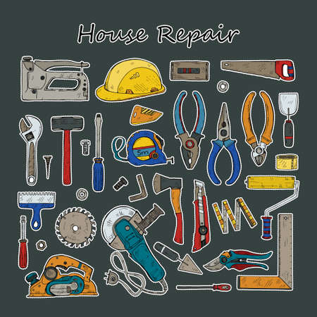 Stickers set of building and house repair tools . Hand drawn vector collection Ilustração
