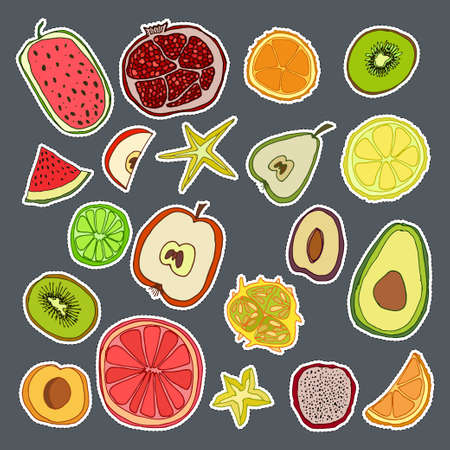 Stickers set with cute hand drawn fruits. Vector doodle collection Illustration