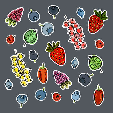 Stickers set with cute hand drawn berries. Vector doodle collection Illustration