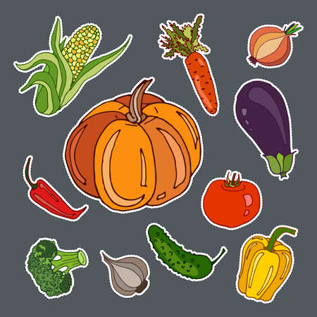 Stickers set with cute hand drawn vegetables. Vector doodle collection