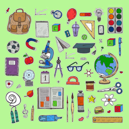 Set of cute hand drawn educational tools stickers including pencils; pens; watercolor; eraser; brush; and others. Vector hand drawn back to school collection