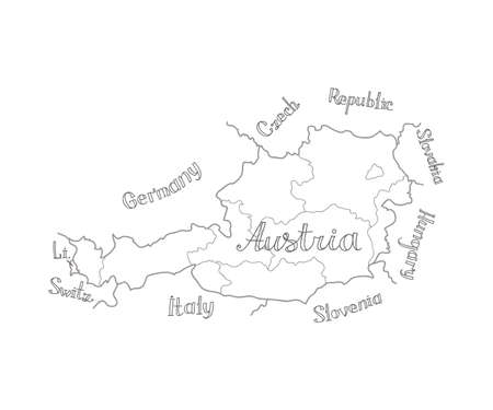 Hand drawn map of Austria with the names of neighboring countries. Vector