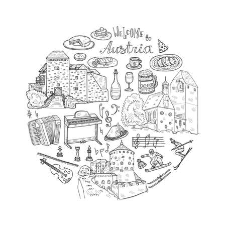 Round composition with cute hand drawn Welcome to Austria icons. Vector sketch.