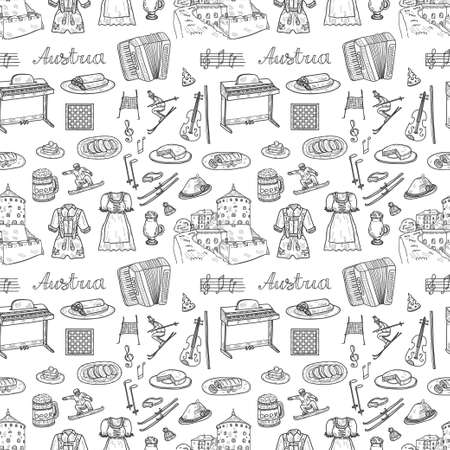 Seamless pattern with cute hand drawn Welcome to Austria icons. Vector sketch.