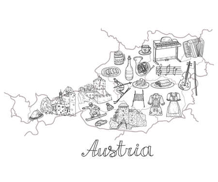 Illustration with Auatia map and  cute hand drawn Welcome to Austria icons. Vector sketch.