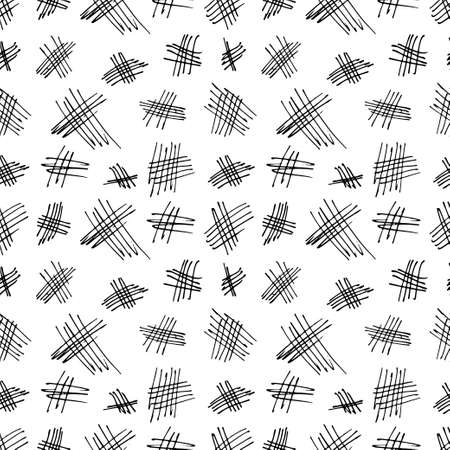 Hand drawn abstract seamless pattern. Vector doodling collection. Scribble illustration