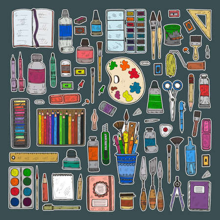 Set of cute hand drawn stickers of art tools including pencils; pens; watercolor; eraser; pastel; brush; and others. Vector hand drawn art collection stickers