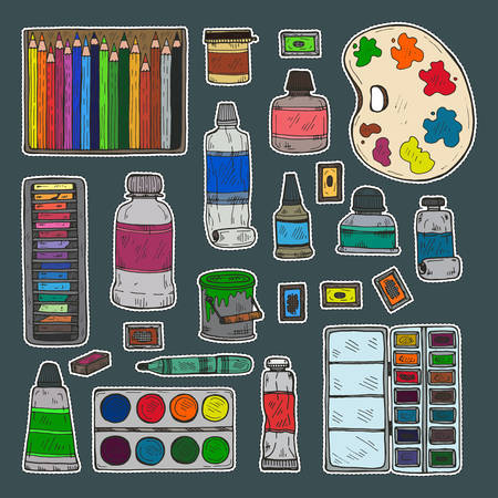 Set of cute hand drawn stickers of different types of paint and color pencils. Vector hand drawn art stickers collection Illustration