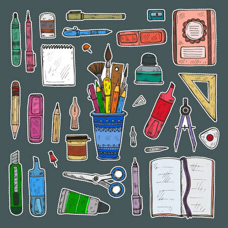 Set of cute hand drawn stickers of art tools including pencils; pens; eraser; brush; and others. Vector hand drawn art collection
