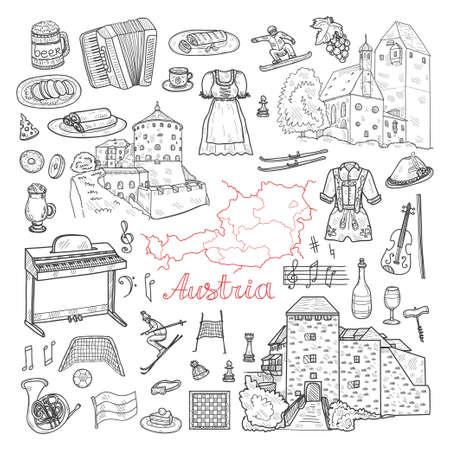 Conjunto de iconos de bienvenida a Austria dibujados a mano lindo. Bosquejo del vector. Ilustración de vector