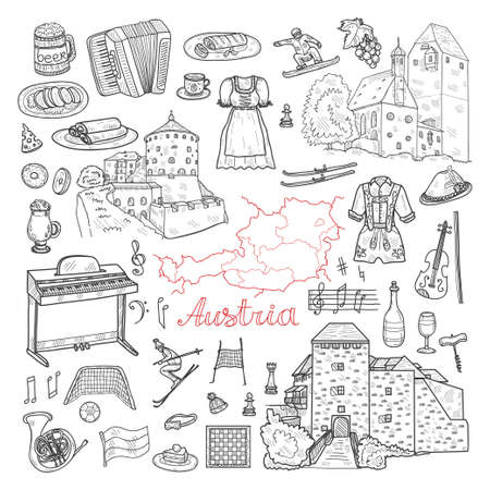 Set of cute hand drawn Welcome to Austria icons. Vector sketch.