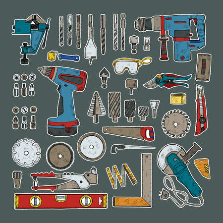 Stickers set of building and house repair tools . Hand drawn vector collection Illustration