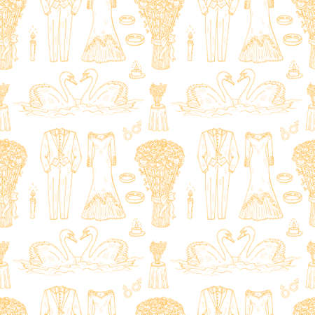 Seamless pattern with cute hand drawn wedding icons. Vector collection of wedding illustration.