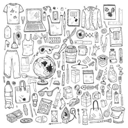 Set with hand drawn garbage. Plastic pollution collection. Vector