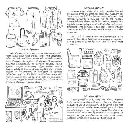 Illustration with hand drawn garbage. Plastic pollution collection. Vector